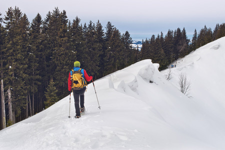 traverse: Person wearing a backpack and snowshoes or cross-country skis using poles to traverse a steep snowy slope above the tree line on an alpine peak