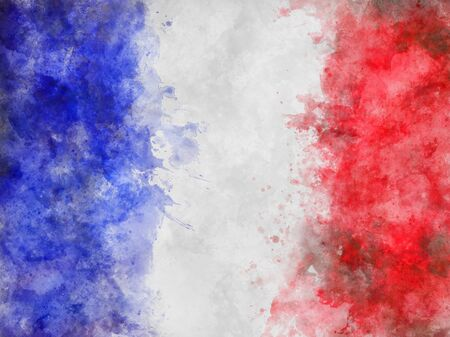 painterly effect: Artistic Rendering of Flag of France - Full Frame Background Abstract of Painted Blue, White and Red