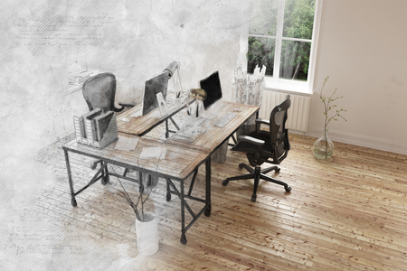 Gray faded out effect on 3D render of empty room with pair of contemporary desk and chairs on hardwood floor. 3d Rendering. Stock Photo