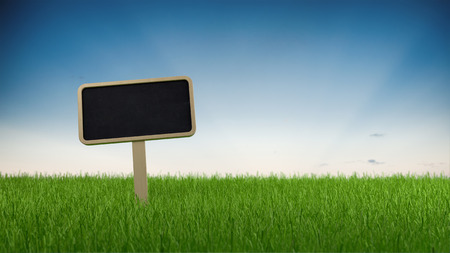 a meadow: Blank slate signboard on lush green grass against a gradient blue sky with copy space, panoramic banner