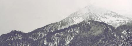 Vista panorámica de la cima de la montaña distante cubierto por las nubes y la nieve bajo el cielo nublado con árboles de coníferas en el primer plano Foto de archivo