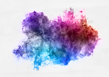 Colorful watercolor paint banner with random brushstrokes as a central band over textured white paper with copy space for a design template