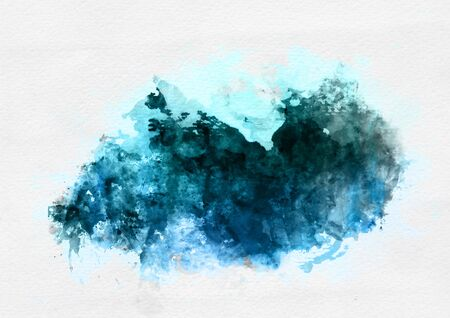 illustrated: Blue watercolor paint banner with random brushstrokes as a central band over textured white paper with copy space for a design template