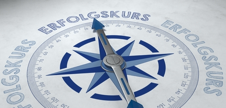 path to success: Symbolic marketing 3D render of compass pointing to German word erfolgskurs, which stands for being on the path of success