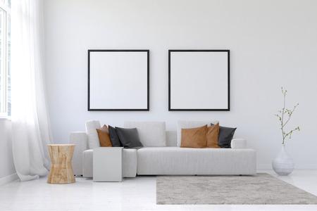 소파, 깔끔하게 정렬 갈색 베개, 화분과 넓은 거실 장면의 3D 렌더링, 위의 양탄자와 광장 빈 그림 한 쌍의 프레임 던져