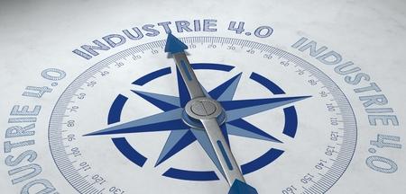 産業界での作業の概念のためのドイツ語フレーズ industrie 4.0、コンパス ポイントの 3 d レンダリング