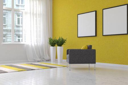 3D Rendering Of Spacious Living Room Scene Textured Yellow Wallpaper ...