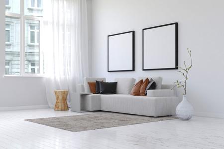 広々 としたシンプルなリビング ルームの 3 D レンダリングはきちんとコピー スペースとソファ、枕、空白の正方形の画像フレームと壁の対隣に工場 写真素材