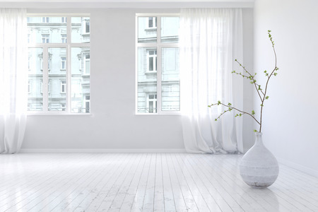 Pair of large bright windows in spacious empty apartment room interior with hardwood floor and large planter with little tree shrub. 3d Rendering.