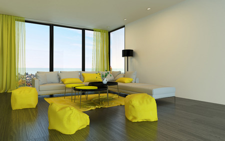 modular home: Little yellow seats around table in fancy living room with windows overlooking horizon from high up. 3d Rendering.