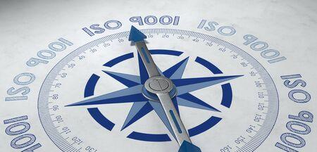 productos quimicos: 3d de azul y gris puntero del compás de metal rodeada por el texto de las normas ISO 9001 en todo el mundo