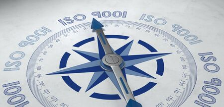 statutory: 3d render of blue and gray metal compass pointer surrounded by text for worldwide ISO 9001 standards