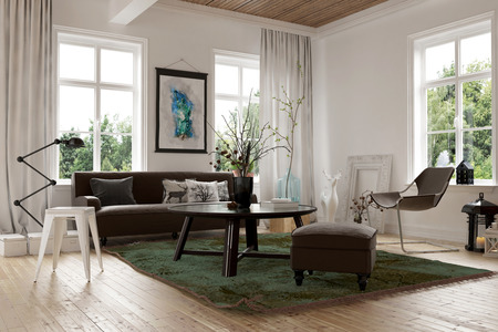 homely: Cozy homely living room interior with a sofa, stools and chairs arranged in the corner surrounded by bright windows looking onto garden greenery, 3d render