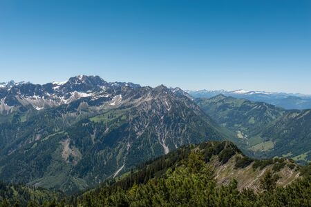 allgau: View from Iseler Moutain towards the Alps with a view of the Nebelhorn and Grosser Daumen Mountain, Germany