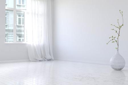 Onversierde ruime lege flat kamer interieur met houten vloer, grote openslaande ramen en plantenbak met kleine boom struik. 3D-rendering.