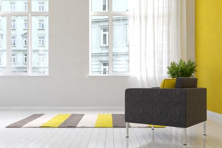 Amplia sala de estar de lujo interior con alfombra y silla sobre piso de madera con grandes ventanales que dan a otros edificios. Representación 3D. Foto de archivo