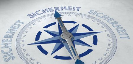 viable: 3d rendered blue and metal finished German language compass pointed to the word sicherheit (safety), for concept about certainty or probable success