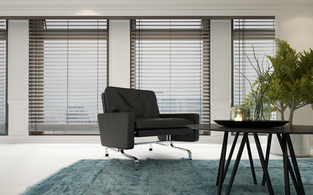 Contemporary upholstered chrome armchair in a spacious bright living room interior with a coffee table with houseplants and four large windows covered with Venetian blinds, 3d rendering