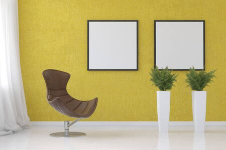corner tub: Stylish yellow corner in a modern living room with two empty picture frames on the wall above potted ferns and a comfortable moulded tub chair, 3d rendering