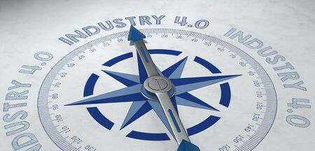 streamlining: 3d render of blue and gray compass pointing to the German phrase industrie 4.0, for concept about competence in the industrial sector