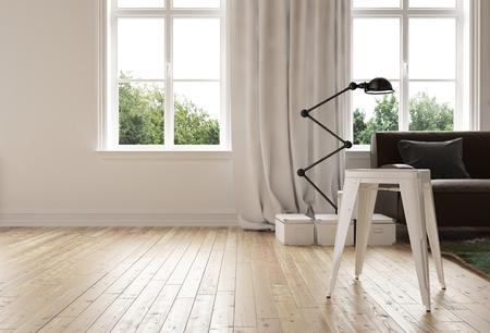 Moderne minimalistische woonkamer met houten vloer en een stijlvolle flexibele hoek evenwicht staande lamp naast een bank in de voorkant van twee heldere ramen, 3D-rendering Stockfoto