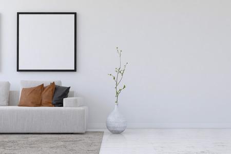 스트레이트 복사 공간 빈 사각형 사진 프레임과 벽 아래에 소파와 식물 간단한 거실의 3D 렌더링