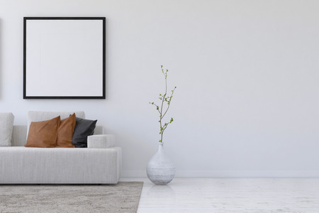 interior layout: Straight on 3D rendering of simple living room with sofa and plant underneath blank square picture frame and wall with copy space