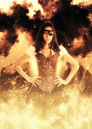 Tough looking steampunk style female with hands on hips and eyepatch surrounded by sparks and flames