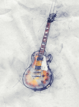 painterly effect: Colored pencil sketch of a guitar on crumpled grungy textured light grey paper with copy space in a music concept