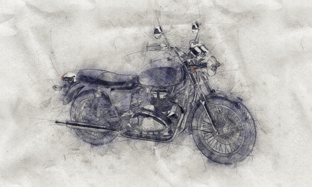 folded hand: Grunge aged pencil sketch of a motorcycle on crumpled textured white paper with smudge or shading effect Stock Photo