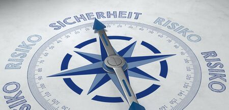 viable: 3d render of blue and gray German language compass pointed to the word sicherheit (safety), for concept about certainty or probable success with risk