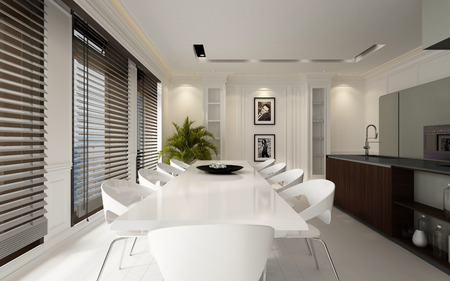 Large spacious luxury white dining room interior with an elegant table and chairs and open plan fitted kitchen with bar counter and a row of large windows covered with blinds, 3d rendering Banco de Imagens