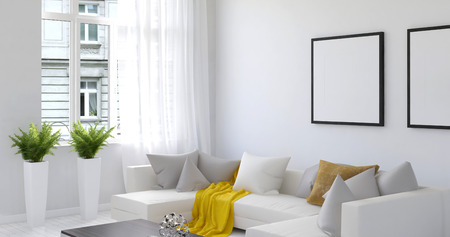 흰 벽, 큰 소파와 상단에 사용되는 노란색 담요와 아름다운 거실의 고요한 3D 렌더링. 다른 건물과 벽에 빈 그림 프레임에 직면 열려있는 창을 포함합니