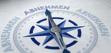 unsustainable: 3D render of compass pointing to German word abnehmen, which stands for decreasing, receiving or loosing weight.
