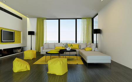 room accents: Interior of luxury condominium living room with yellow soft chairs, widescreen tv, modular sofa and curtains over hardwood floor. 3d Rendering. Stock Photo