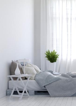 Nachtkastje en vareninstallatie aan weerszijden van lege onopgemaakt bed over hardhouten witte vloer voor thuis scene. 3D-rendering.