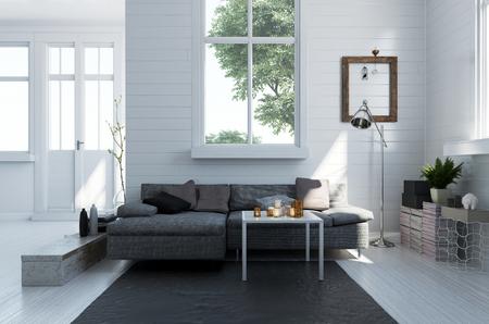 Comfortabele grijze gestoffeerde bank in een modern woonkamerbinnenland met monochromatische witte vloer en muren en heldere zonnige vensters, het 3d teruggeven