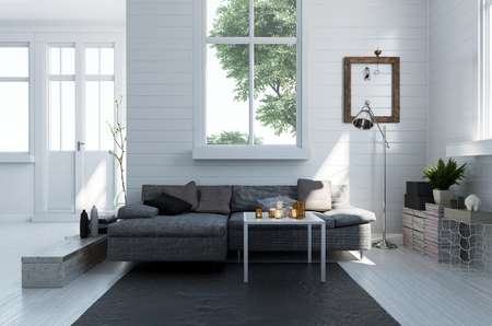 upholstered: Comfortable grey upholstered sofa in a modern living room interior with monochromatic white floor and walls and bright sunny windows, 3d rendering