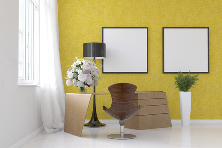 moulded: Stylish modern living room interior with yellow decor and two blank square frames hanging on the wall above a contemporary moulded chair , lamp and flower arrangements, 3d render