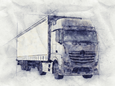backgrounds: Pencil sketch of a long distance transport or haulage truck on textured crumpled grey paper in a front side view