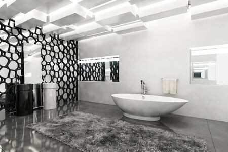 corner tub: Interior of a monochromatic stylish modern bathroom with grey and white decor with a boat shaped bathtub and geometric screen decoration, 3d rendering Stock Photo