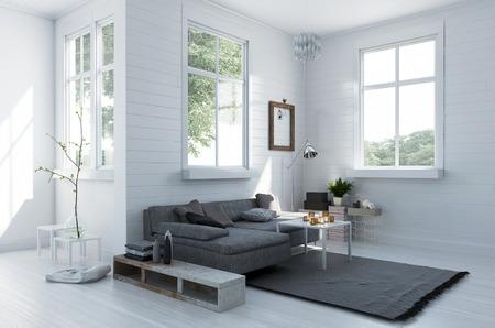 Gemütliche Ecke in einer eleganten weißen Wohnzimmer mit einem bequemen Polster grau Couch und Teppich in einem geräumigen, hellen hellen Interieur mit Fenstern, 3D-Rendering