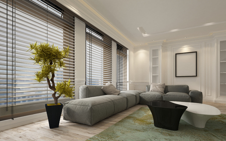 blinds: Fancy apartment living room interior with large floor to ceiling window blinds and soft gray modular sofa. Includes blank walls and picture frame with copy space. 3d Rendering.