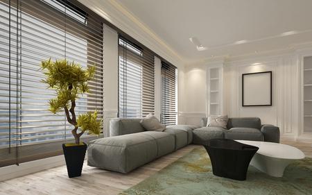 Fantasía apartamento sala de estar interrelacionada con piso de grandes persianas de la ventana de techo y suave sofá modular gris. Incluye las paredes en blanco y marco de fotos con copia espacio. Representación 3d.