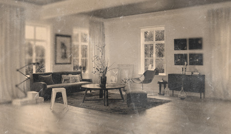 casement: Worn out monotone picture of retro 1960s living room with little sofa, round table, lamps and casement windows. 3d Rendering.