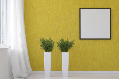 modern frame: 3D rendering of spacious living room scene textured yellow wallpaper, two fern plants on tall stands and blank square picture frame beside white curtain