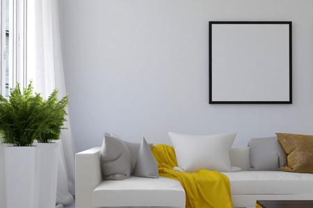 빈 그림 프레임 및 창 근처 베개와 실내 화분 용 화초 사이의 느슨한 노란색 담요와 긴 흰 소파가있는 거실 장면. 3D 렌더링.