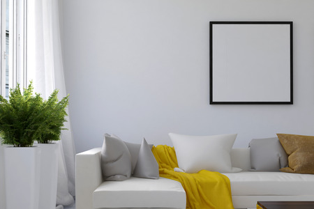 Living room scene with blank picture frame and long white sofa with loose yellow blanket between pillows and houseplants near window. 3d Rendering.