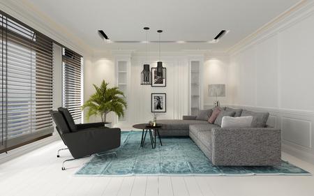 ベネチアン ・ ブラインド、3 d レンダリングと大きな窓によって見落とされる堅木張りの床にブルーのカーペットの上で椅子とソファと快適なモダ