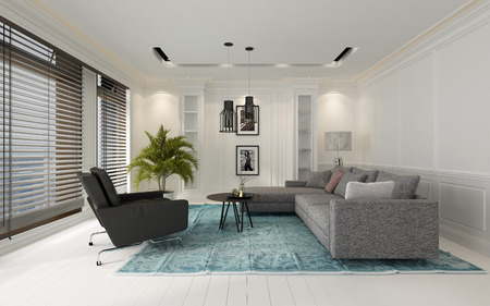 Comfortabele moderne witte woonkamer interieur met een bank en stoelen op een blauw tapijt op een hardhouten vloer over het hoofd gezien door grote ramen met jaloezieën, 3D-rendering